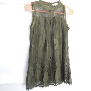 Paper + Tee Olive Green Lace Blouse Keyhole Back